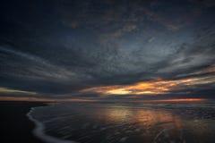 Por do sol em Schiermonnikoog Fotografia de Stock