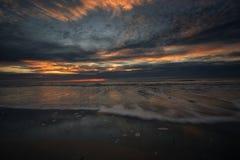 Por do sol em Schiermonnikoog Fotos de Stock