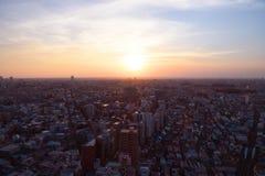 Por do sol em Setagaya-ku, Tóquio, Japão Fotografia de Stock