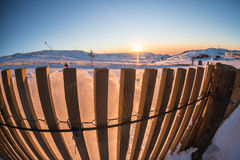 Por do sol em Ski Park Foto de Stock Royalty Free