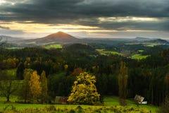 Por do sol em Suíça checo Fotos de Stock Royalty Free