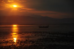 Por do sol em Sumbawa Foto de Stock Royalty Free
