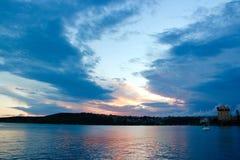 Por do sol em Sydney Harbour imagens de stock royalty free