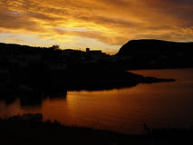 Por do sol em Terra Nova Imagem de Stock