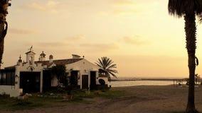 Por do sol em Torre del Duque praia-Marbella-Andaluzia-Espanha-Europa Foto de Stock Royalty Free