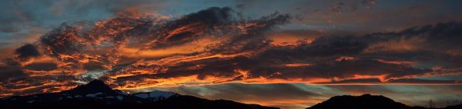 Por do sol em Torres del Paine Fotografia de Stock