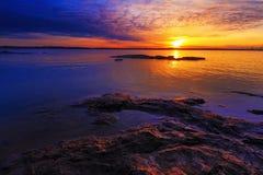 Por do sol em Truman Lake Foto de Stock