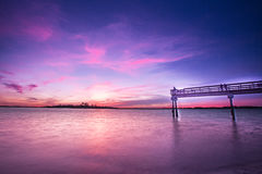Por do sol em Tybee Island Imagens de Stock Royalty Free