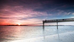Por do sol em Tybee Island Fotografia de Stock