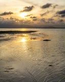 Por do sol em um mar calmo ao rio imagens de stock royalty free
