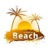 Por do sol em uma praia   ilustração royalty free
