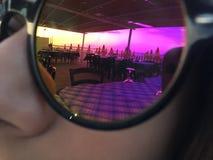 Por do sol em uns vidros Imagem de Stock
