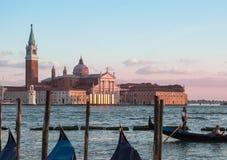 Por do sol em Veneza - San Giorgio Maggiore, Veneza, Itália Fotografia de Stock Royalty Free
