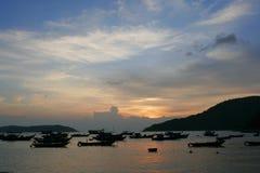 Por do sol em Vietnam. Imagem de Stock