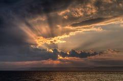 Por do sol em Vladivostok, Rússia Imagens de Stock