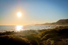 Por do sol em Wellington Coast Imagens de Stock