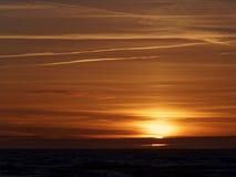 Por do sol em Ynyslas Fotografia de Stock