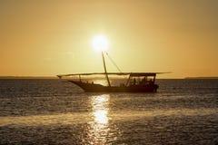 Por do sol em Zanzibar fotografia de stock royalty free