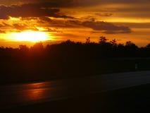 Por do sol em Zwingendorf Imagem de Stock