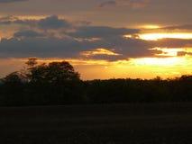 Por do sol em Zwingendorf Fotografia de Stock