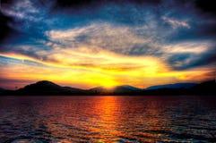 Por do sol espectacular fotografia de stock