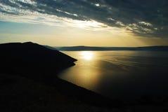 Por do sol espetacular nas ilhas de Brijuni na Croácia imagem de stock royalty free