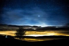 Por do sol & estrelas sobre o reservatório de Llyn Brenig situado em Gales Fotos de Stock Royalty Free