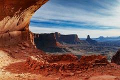 Por do sol do _ falso Kiva em Canyonlands imagens de stock