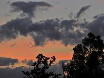 Por do sol fantástico no campo com céu alaranjado foto de stock
