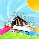 Por do sol floral do arco-íris do templo ilustração do vetor