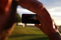 Por do sol fora da cidade foto de stock royalty free