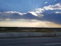 Por do sol, forte McMurray, Alberta fotos de stock royalty free