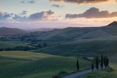 Por do sol fresco de Tuscan Fotografia de Stock Royalty Free