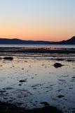 Por do sol frio na mola por Trondheimsfjorden Foto de Stock Royalty Free