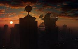 Por do sol futurista da cidade Imagem de Stock Royalty Free