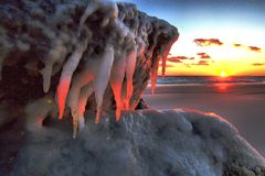 Por do sol gelado Foto de Stock