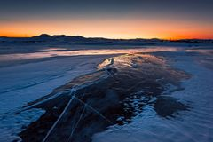 Por do sol do gelo foto de stock