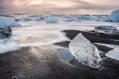 Por do sol glacial de Islândia Imagem de Stock