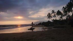 Por do sol havaiano foto de stock