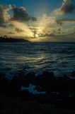 Por do sol havaiano Fotografia de Stock