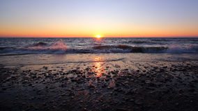 Por do sol do horizonte, praia POV Foto de Stock Royalty Free