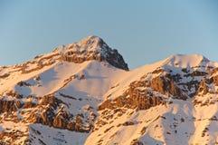 Por do sol, ideia do pico de Pizzo Cefalone, Abruzzo, Itália Fotografia de Stock Royalty Free