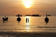 Por do sol. Ilha de Koh Tao, Tailândia Fotos de Stock Royalty Free