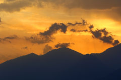 Por do sol impetuoso Fotografia de Stock Royalty Free