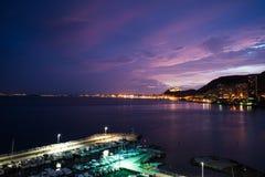 Por do sol impressionante de Alicante fotografia de stock