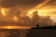 Por do sol impressionante de Sanibel Fotografia de Stock