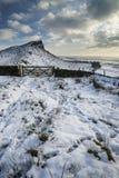 Por do sol impressionante do inverno sobre a paisagem do campo com dramático Fotografia de Stock Royalty Free