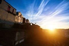 Por do sol impressionante na casa de campo Nova de Gaia, Porto Imagens de Stock