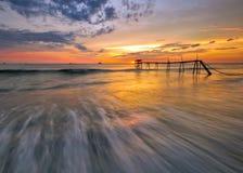 Por do sol impressionante no seascape Fotografia de Stock