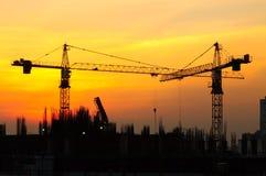 Por do sol industrial Imagem de Stock